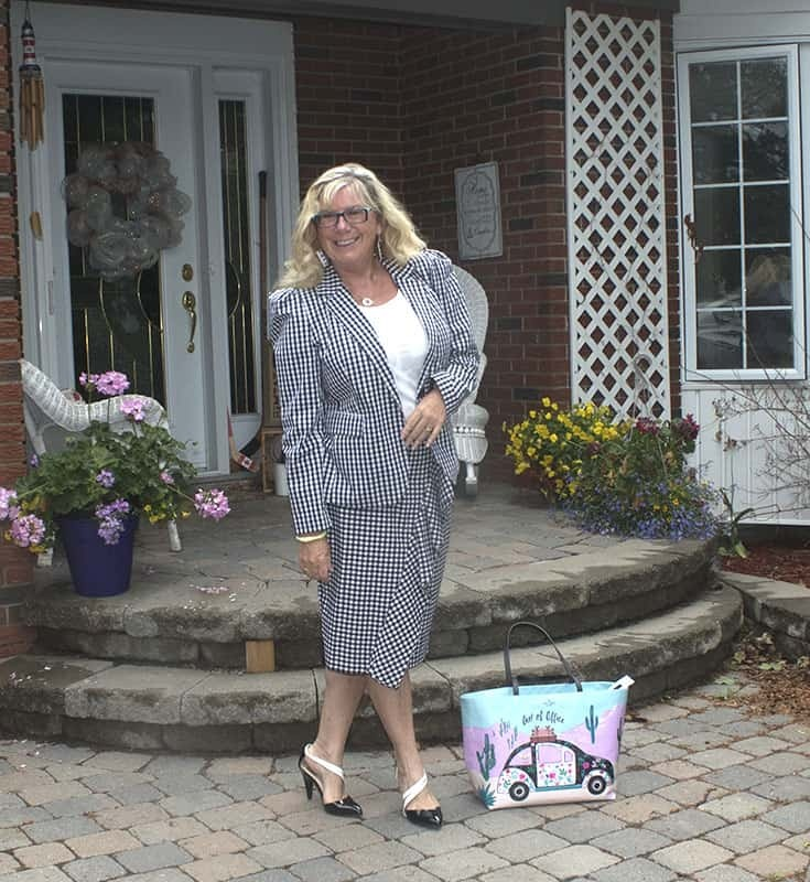 B & W Gingham suit from Target with  a Bluesfest Tank and shoe dazzle pumps