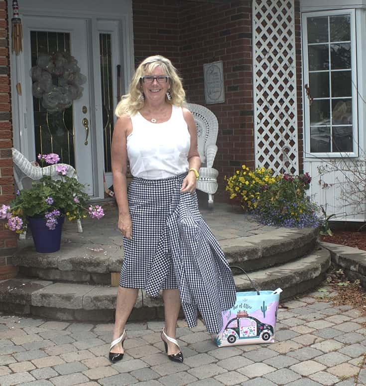 Gingham suit from Target with  a Bluesfest Tank and a kate spade bag