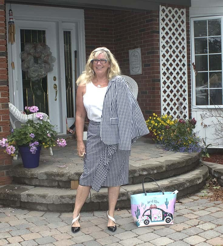 Gingham suit from Target with  a Bluesfest Tank and shoe dazzle pumps 3