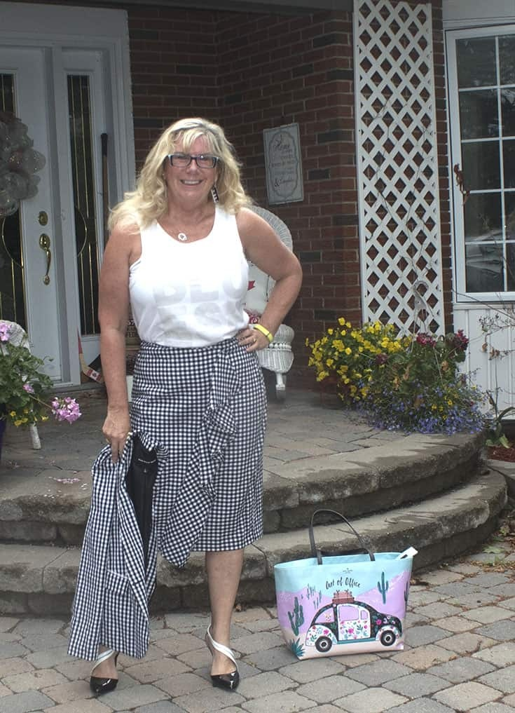 Gingham suit from Target with  a Bluesfest Tank and shoe dazzle pumps 2