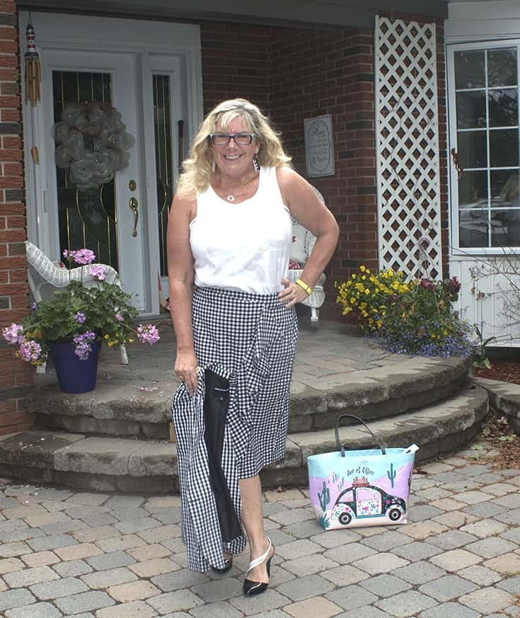 Gingham suit from Target with  a Bluesfest Tank and shoe dazzle pumps