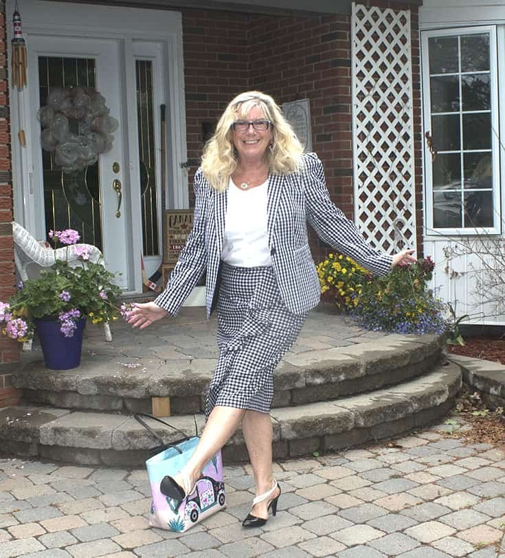 Gingham suit from Target and shoe dazzle pumps