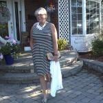 J Crew strip dress and Bellorita bag