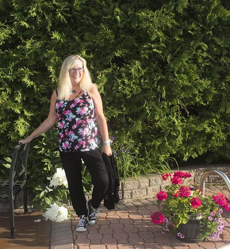 By George Floral top and Old Navy Joggers