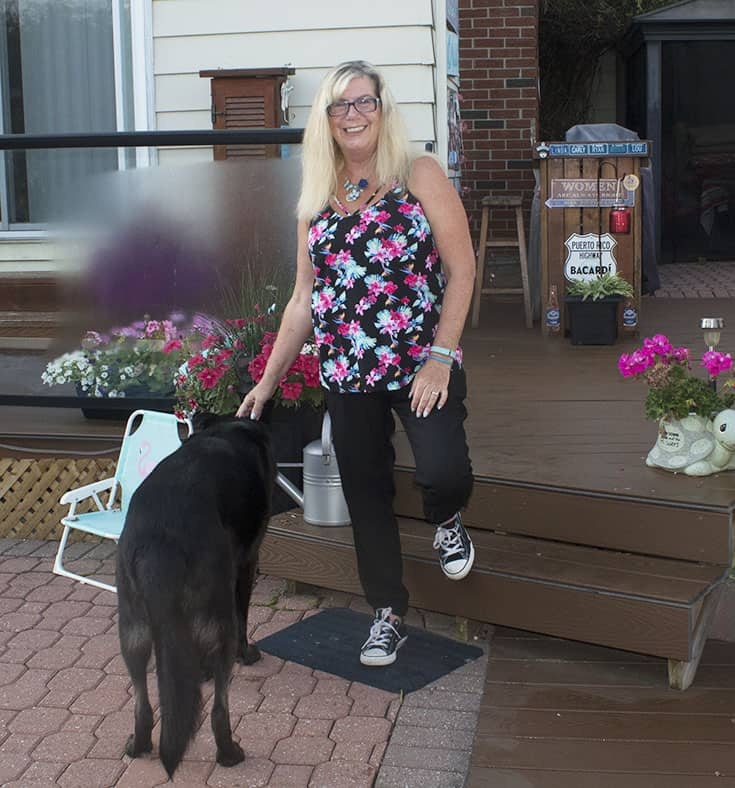 Dog Photo bomber and Floral print top from George and Old Navy silk joggers