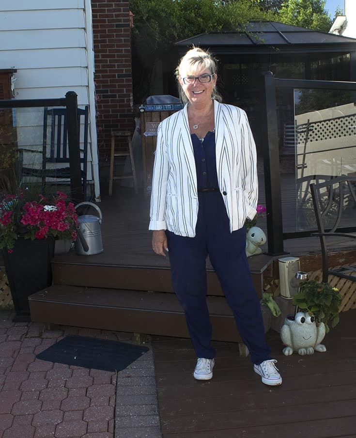 a summer uniform with Target Jumpsuit, A linen blazer and converse with zippers