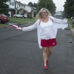 giant tiger red skort and white linen cardigan