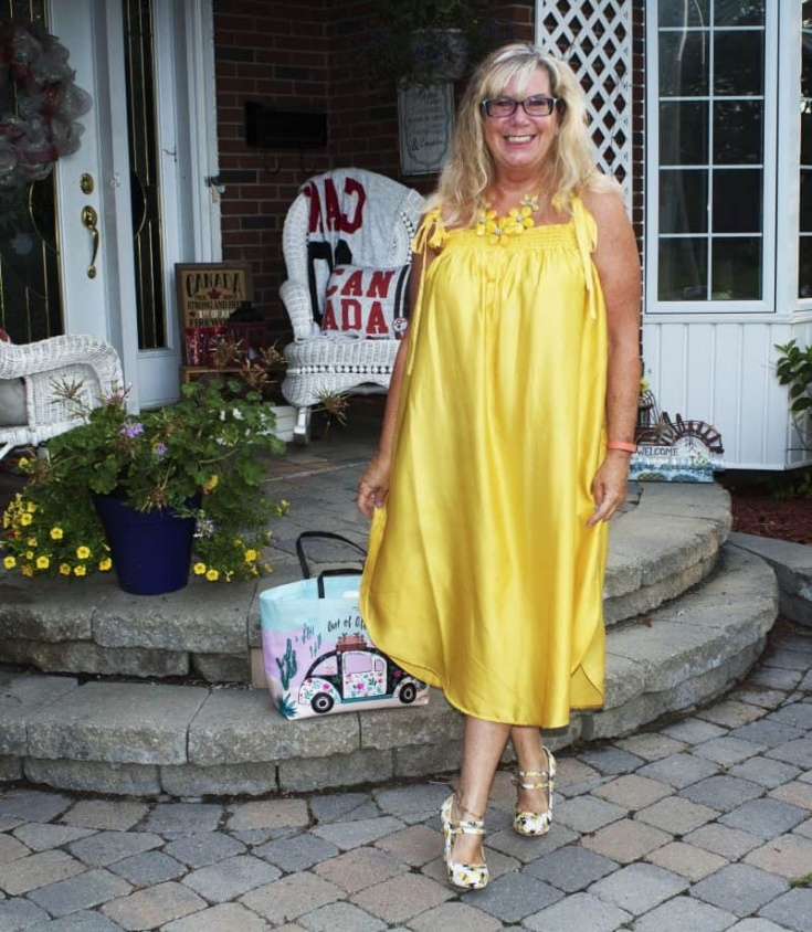 Yellow sundress from H&M and fun Lemon shoes from Shoe Dazzle
