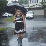 J Crew Black Dress with white stripe and gray hunter boot