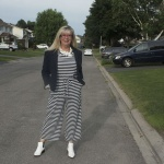 Old Navy Blue and white stripe jumpsuit 2