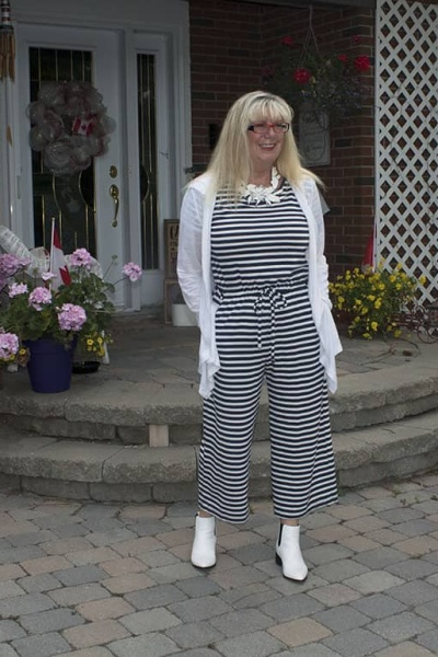 Old Navy Blue and White Stripe Jumpsuit