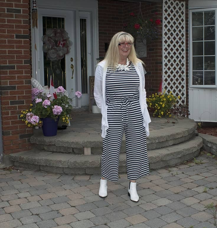 Old Navy Blue and white stripe jumpsuit and white linen cardi 2