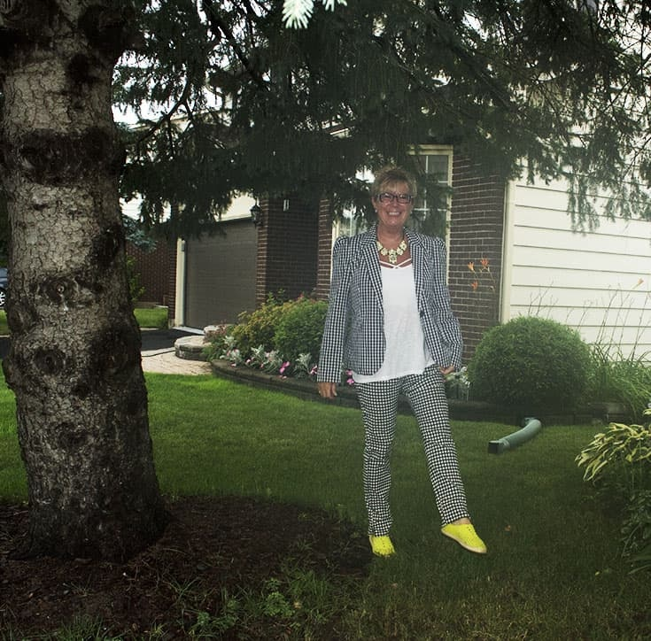 Gingham suit from Target with yellow native shoes