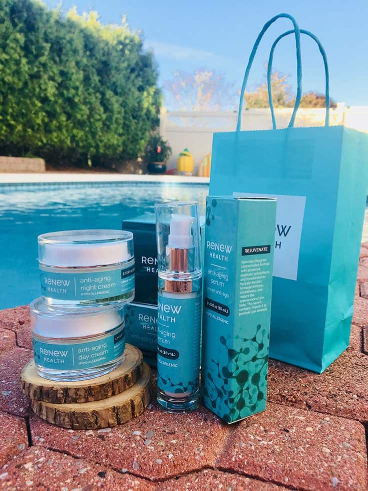 Renew skin care line by the pool