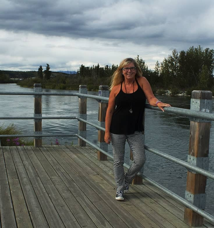 gingham pants from target and at the river in whitehorse