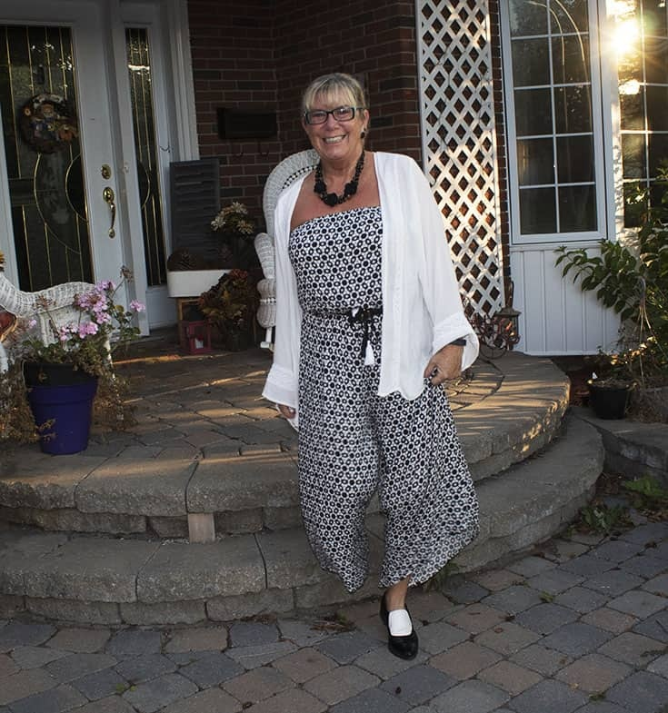 Black and white Target jumpsuit and sam edelman loafers