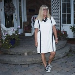 Eva Trends White A line dress with piping and black converse 2