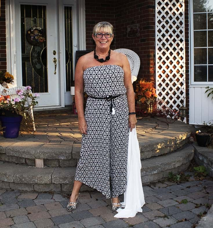Fall ready in a Black and white Target jumpsuit