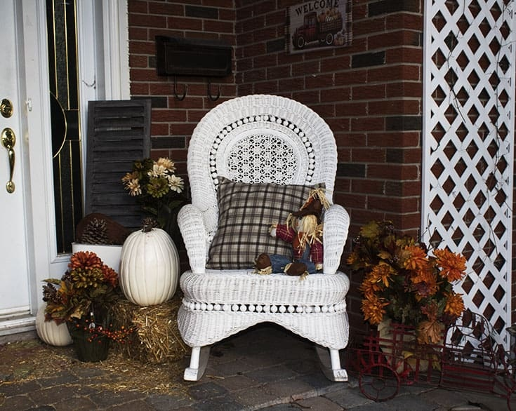 Pumpkins, straw and vintage shutters