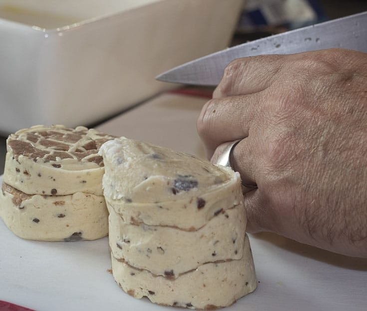 cutting up Pillsbury Cinnabon dough