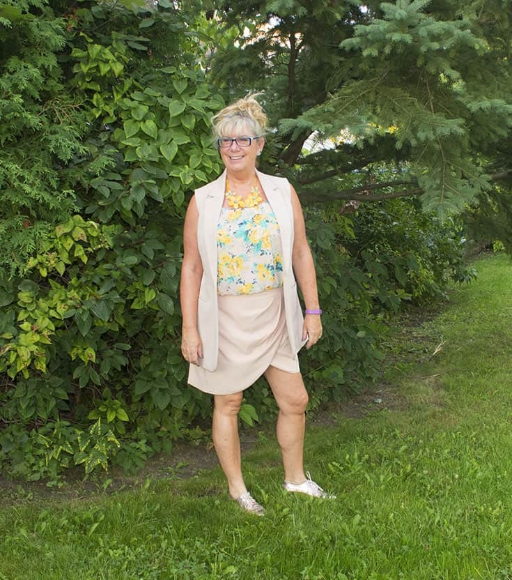 forever 21 blush tulip skirt and long vest and metallic oxfords 2
