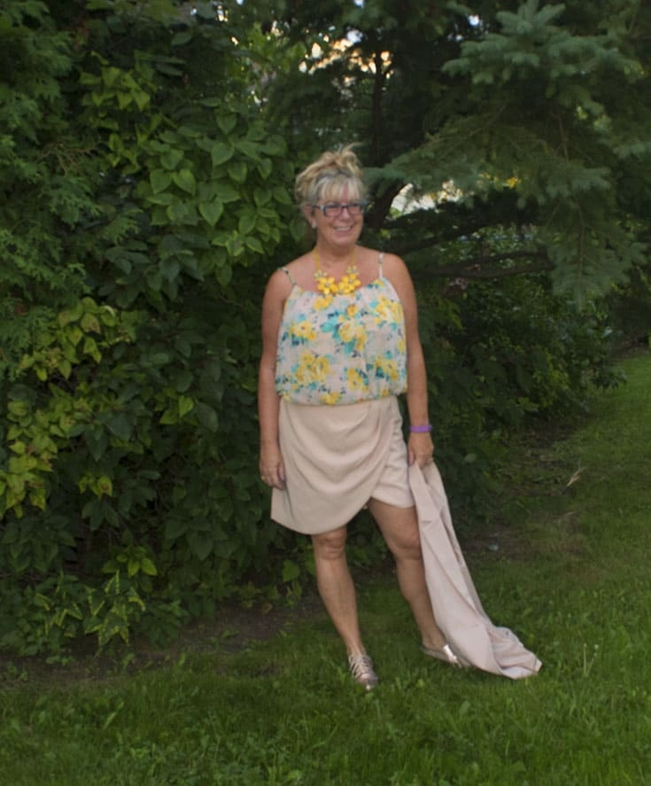 forever 21 blush tulip skirt and long vest and metallic oxfords 3