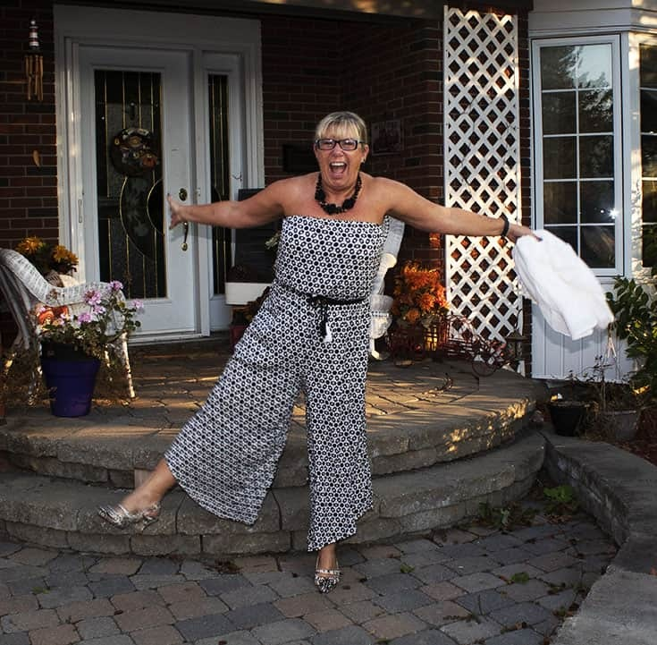 fun in a Black and white Target jumpsuit
