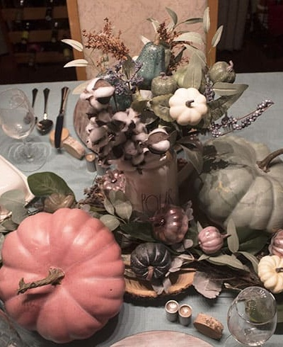 Pink and Teal Pumpkin Table for Fall