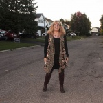 Target Boho floral vest with a LBD and otk boots 3