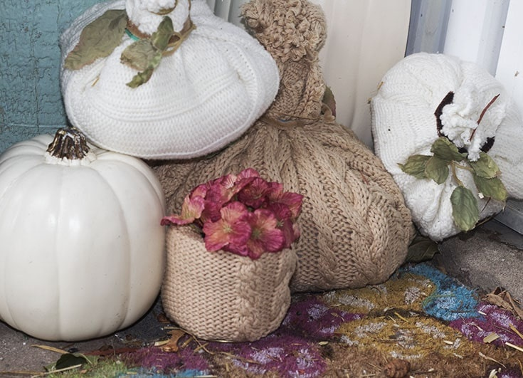 home made sweater pumpkins and vases