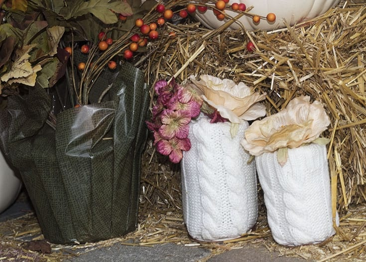 homemade sweater pumpkins and vases 9023