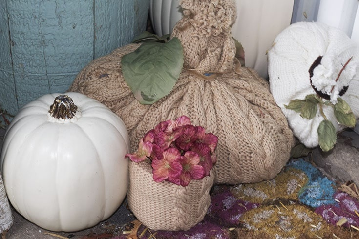 homemade sweater pumpkins and vases_9030