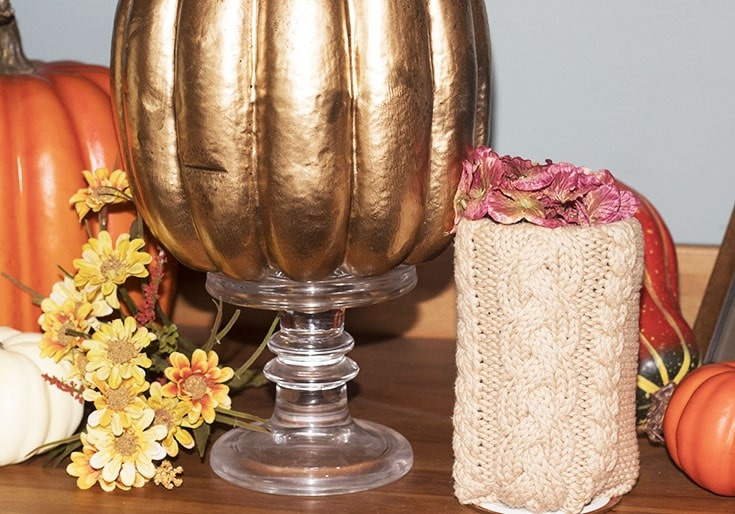 homemade sweater pumpkins and vases_9032