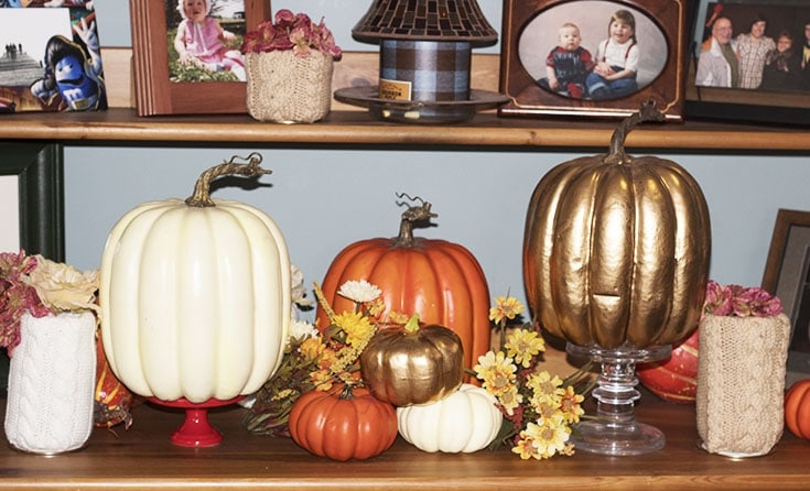 homemade sweater pumpkins and vases_9034