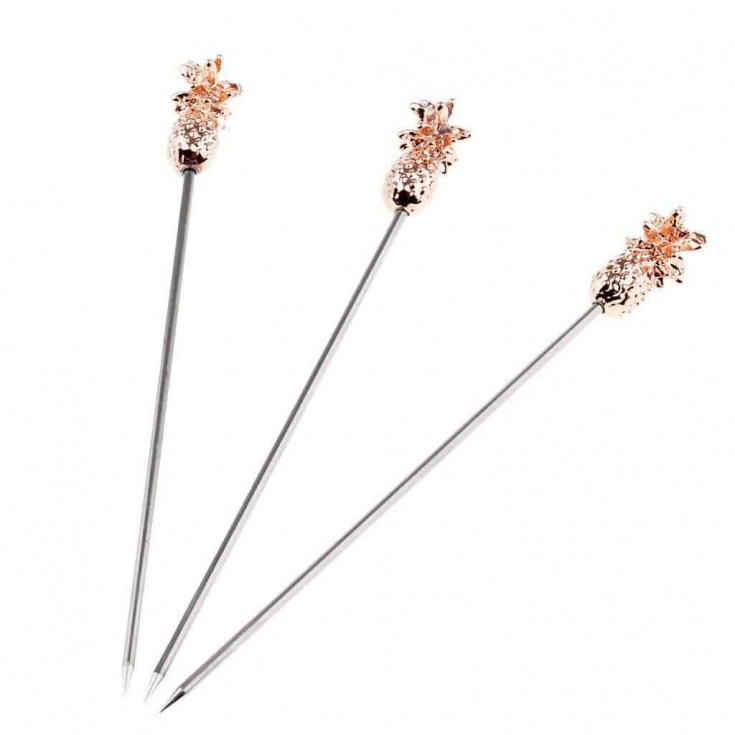 rose gold pineapple swizzle sticks