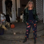 Forever 21 Forest Green Moto Jacket with floral pants
