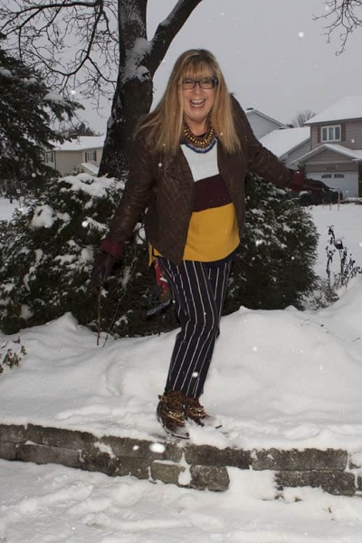 Harper Stripe Pants in the Snow and Holiday Plans