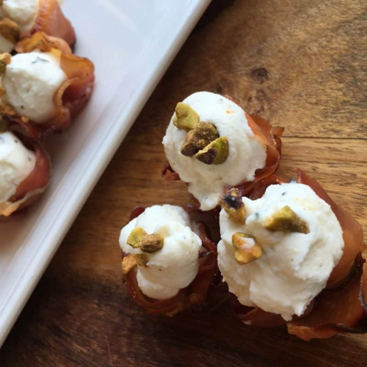 Christmas apps with prosciutto and goat cheese