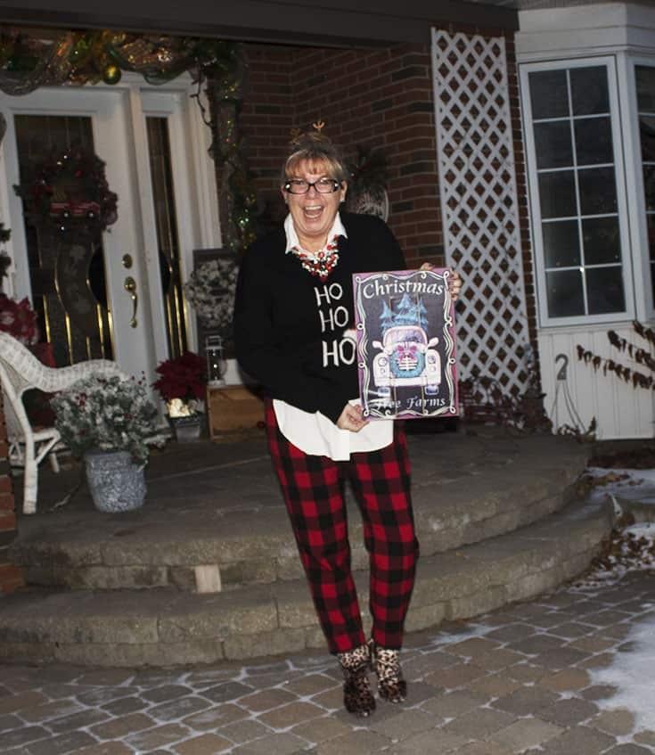 Ho Ho Ho Sweater from Marshalls and plaid pants (1)