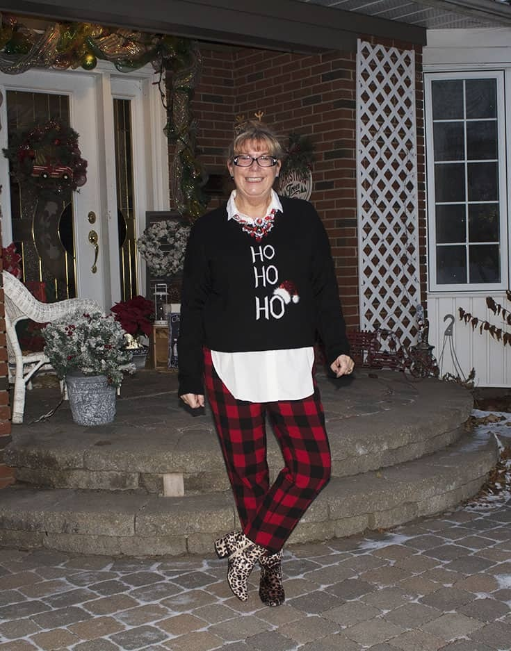 Ho Ho Ho Sweater from Marshalls and plaid pants (4)