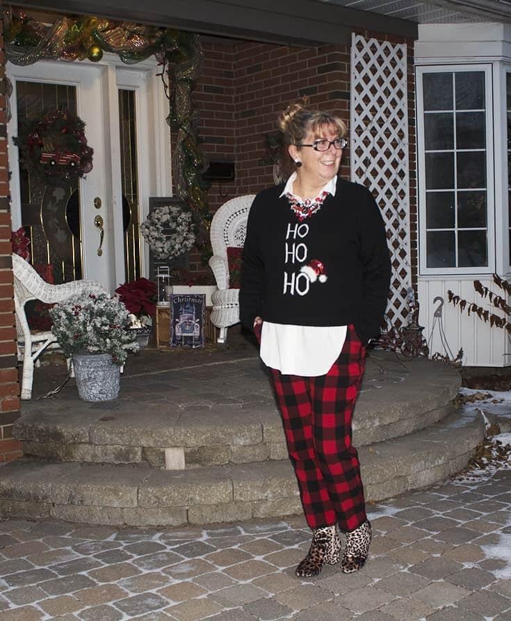 Ho Ho Ho Sweater from Marshalls and plaid pants (5)