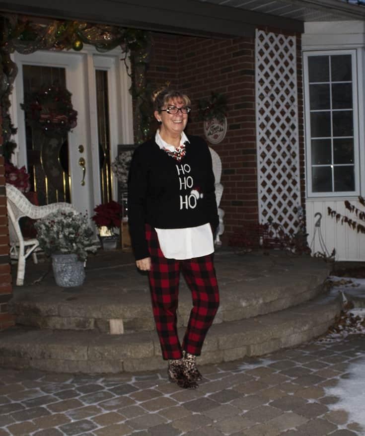 Ho Ho Ho Sweater from Marshalls and plaid pants (8)