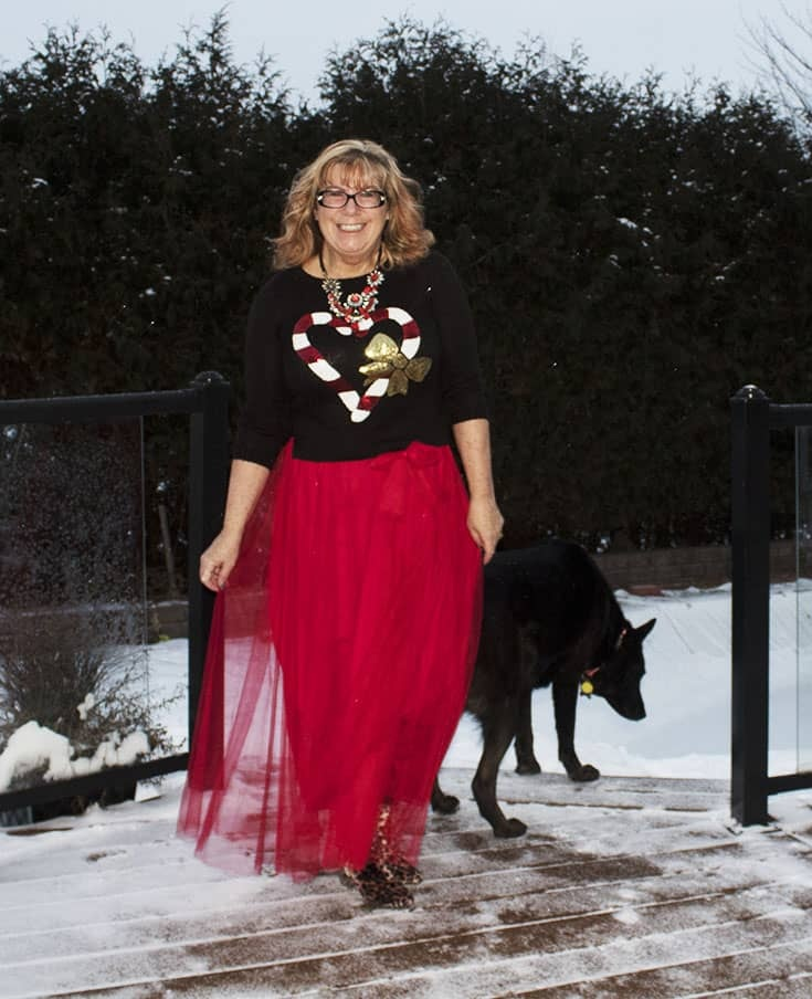 red tulle skirt with Candy Cane Sweater (7)
