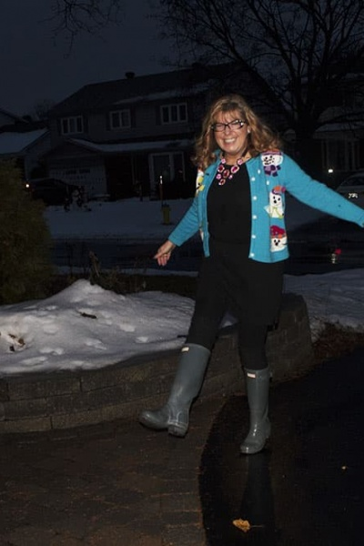 Blue Snowman Sweater and Grey Hunter Boots
