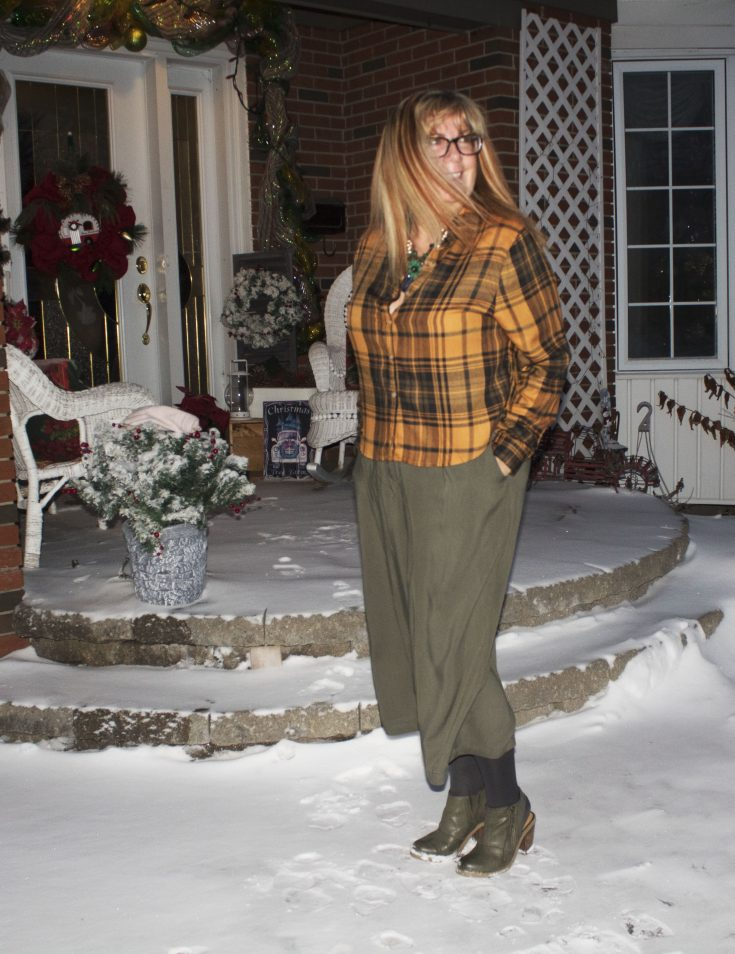 Target paper bag waist pants and flannel 4