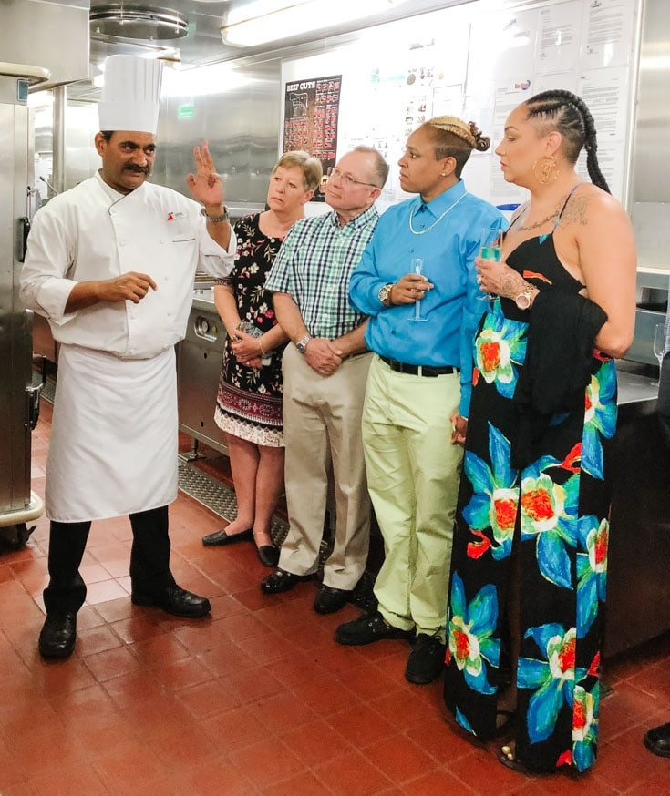 galley tour on the Carnival Elation during the chefs table excursion