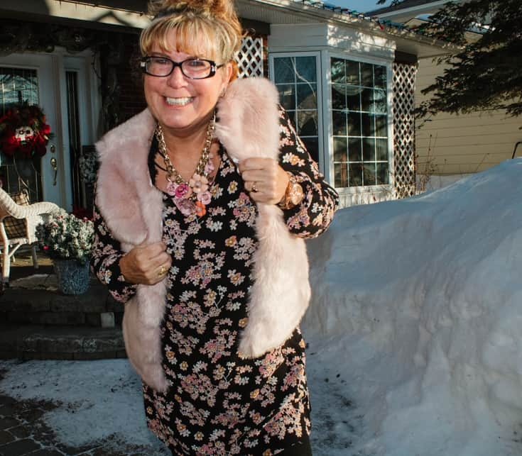 Pink Fur Vest and a Lily Morgan Dress from Giant Tiger
