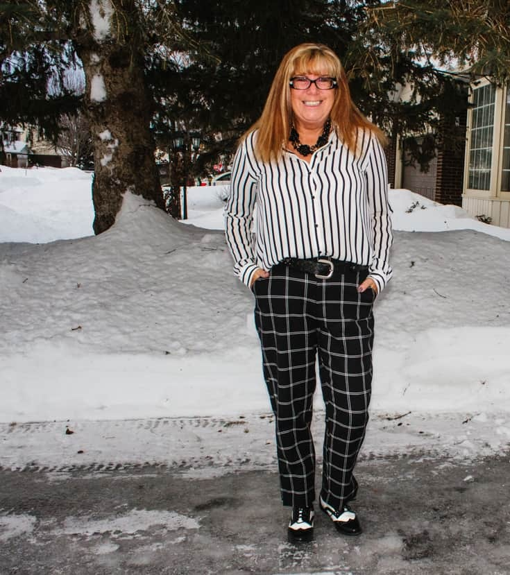 Target check pants and stripe shirt