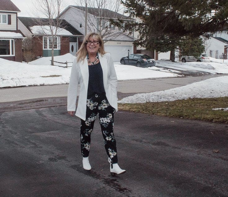Giant tiger floral pants and white blazer 6