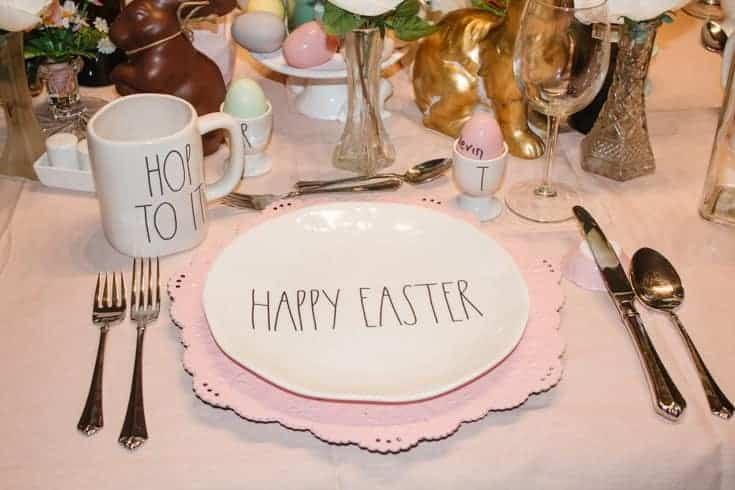 easter table with rae dunn